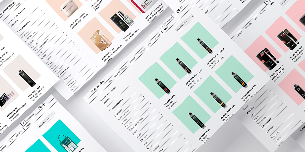 Diseño web e-commerce Nirvel Cosmetics